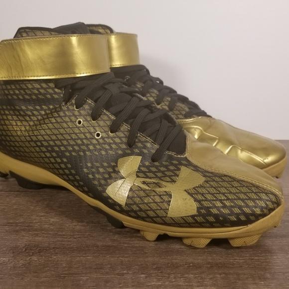 New Men's Under Armour Harper RM Black Metallic Gold Baseball Cleats Size 12